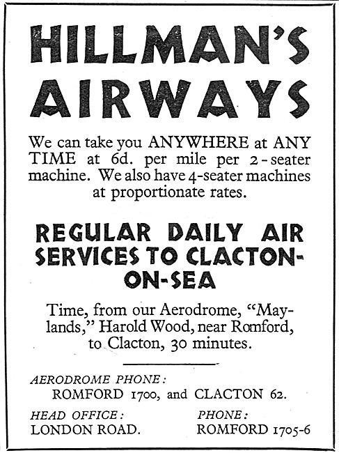 Hillmans Airways Maylands to Clacton Daily 1932