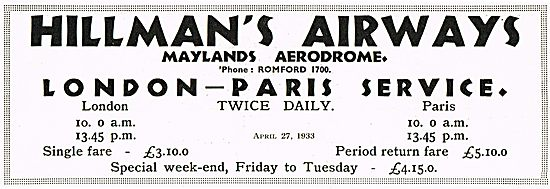 Hillmans Airways Maylands Aerodrome