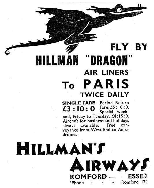 Hillman's Airways 1933  Hillman Dragon Air Liners