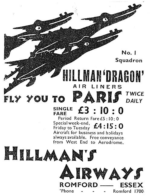Hillmans Airways - Hillman Dragon Air Liners