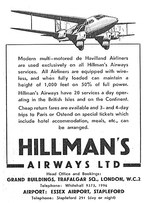 Hillmans Airways - De Havilland Airliners - Daily Services