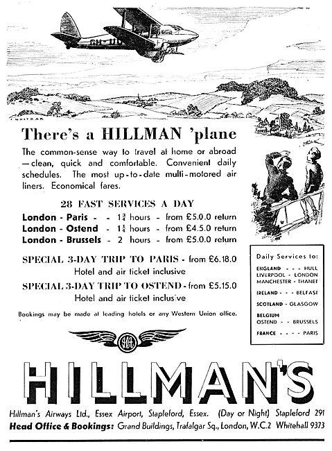 Hillmans Airways - 1935 Continental Services