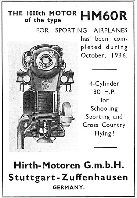 Hirth HM60R 4 Cylinder 80hp Aero Engine