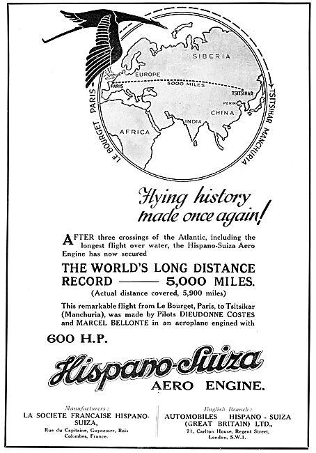 Hispano Suiza Aero Engines - Dieudonne Costes & Marcel Bellonte