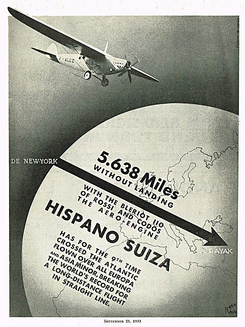 5638 Miles Without Landing Hispano Suiza Engines