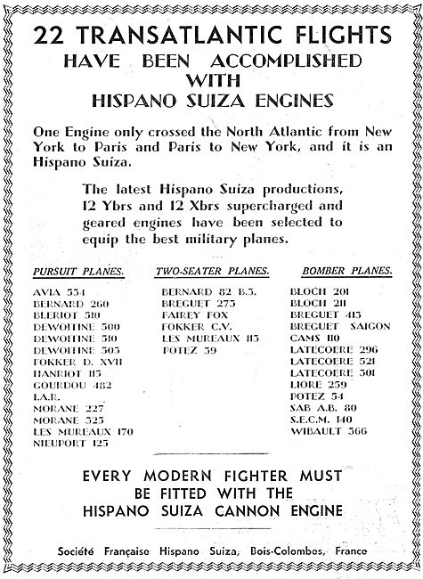 22 Transatlantic Flights Made Using Hispano Suiza Aero Engines