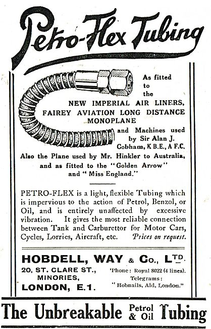 Hobdell, Way - Petro-Flex Tubing In Use With Imperial Airways