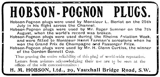 Hobson-Pognon Sparking Plugs.