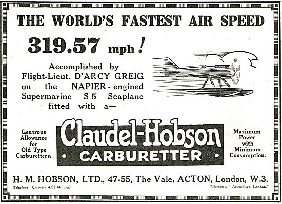 319.57 MPH - The World's Fastest  Airspeed Using  Claudel-Hobson