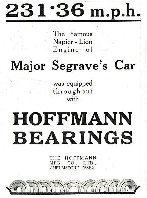 Major Seagraves Napier-Lion Engine Used Hoffmann Bearings.