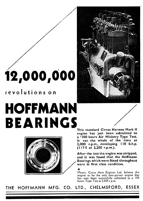 Hoffmann Bearings For Aircraft Engines 1930