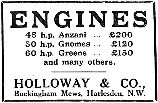 Holloway & Co. Harlesden. Aero Engine Stockists