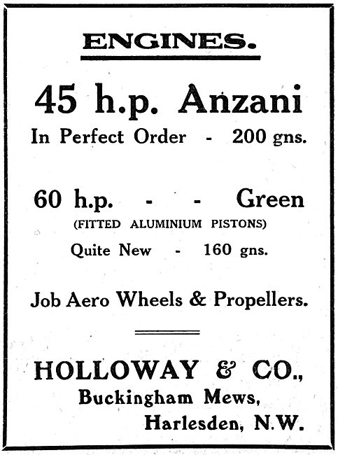 Holloway & Co. Harlesden. Aero Engine & Propeller Stockists