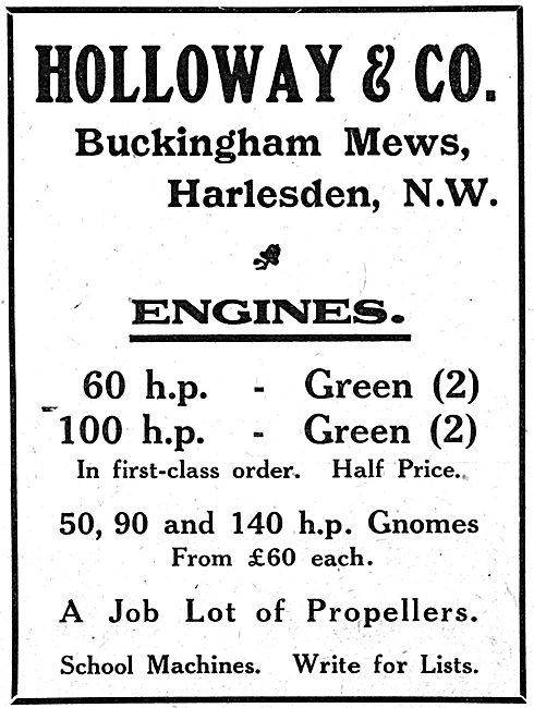 Holloway & Co. Harlesden. Aero Engine Stockists