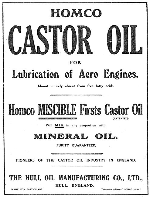 Homco Castor Oli For The Lubrication Of  Aero Engines