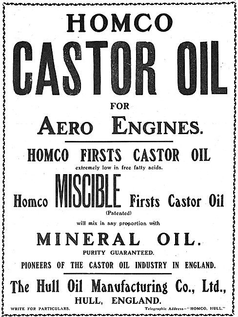 Homco Miscible Oils For Aero Engines