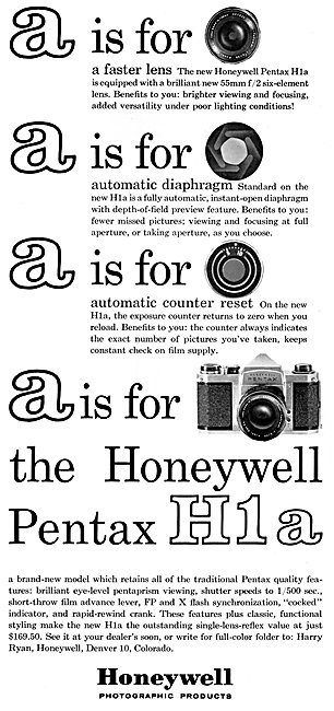 Honeywell Pentax H1A Camera 1963