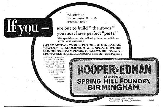Hooper & Edman. - Spring Hill Foundry, Birmingham. 1918 Advert