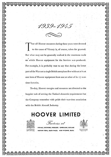 Hoover Vacuum Cleaners & Electrical Appliances 1950