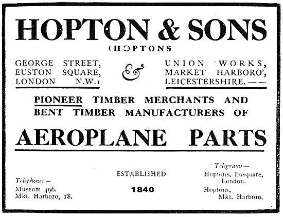 Hopton & Sons Wood Merchants - Wooden Aeroplane Parts