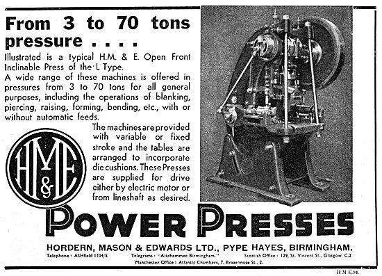 Hordern, Mason & Edwards - Machine Tools. Power Presses