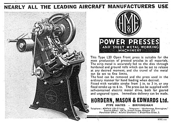 Hordern, Mason & Edwards - Machine Tools. Power Presses