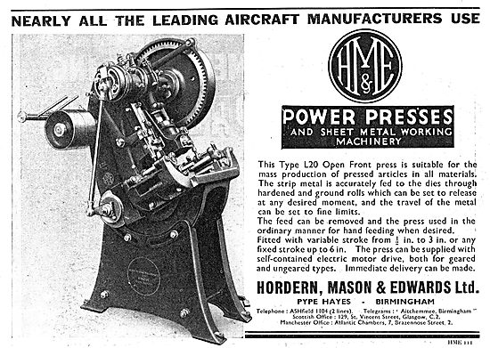 Hordern, Mason & Edwards Type L20 Open Front Power Presses