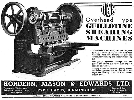 Hordern, Mason & Edwards - Guillotine Shearing Machines