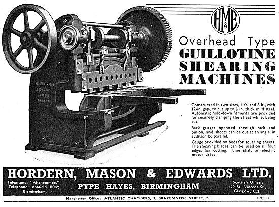 Hordern, Mason & Edwards - Guillotine Shearing Machines
