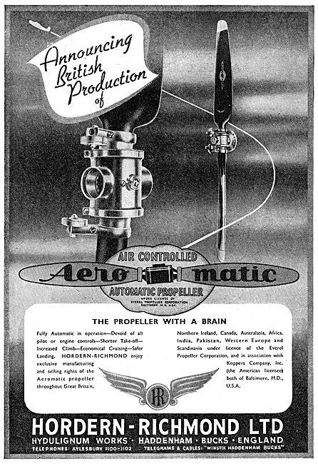 Hordern Richmond Hydulignum - Aeromatic Propeller  1949