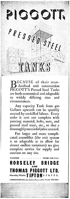 Horseley Bridge  & Thomas Piggott Pressed Steel Water Tanks