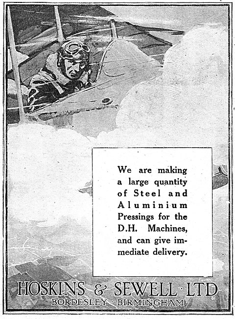Hoskins & Sewell Ltd. Bordesley, Birmingham. Aircraft Parts 1918