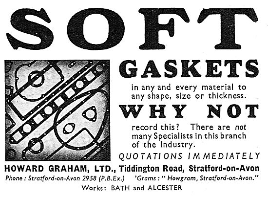 Howard Graham Soft Gaskets. Tiddington Rd. Stratford-on-Avon 1939