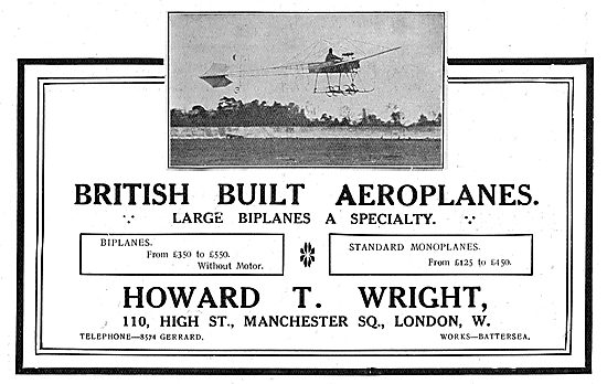 Howard T. Wright  Aeroplanes - Large Biplanes A Speciality