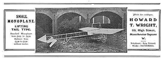 Howard Wright Small Monoplane - Tail Lifting Type From £125