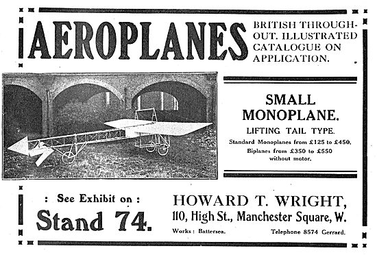 See The Howard T. Wright Small Monoplane At Olympia