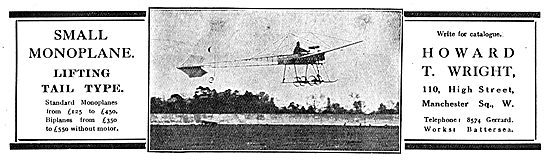 Howard Wright Small Monoplane - Tail Lifting Type