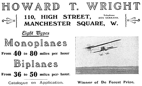 Howard T. Wright - 110 High Street Manchester Square. Aeroplanes