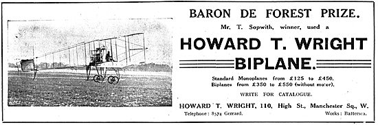 Sopwith Wins Baron De Forest Prize On A Howard T. Wright Biplane