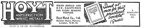 Hoyt Number 11 Metal Bearings - White Metals & Die Castings