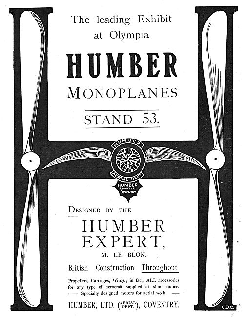 Humber Monoplanes Designed By Humber Expert  M. Le Blon