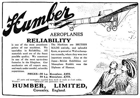 Humber Aeroplanes 1910