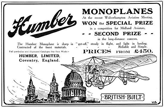 Humber Monoplanes 1910