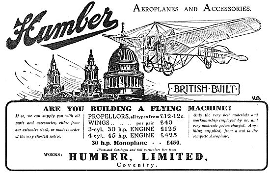 Humber Aeroplanes, Propellers & Accessories