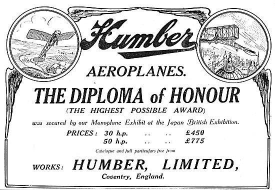 Humber Aeroplanes Awarded The Diploma Of Honour