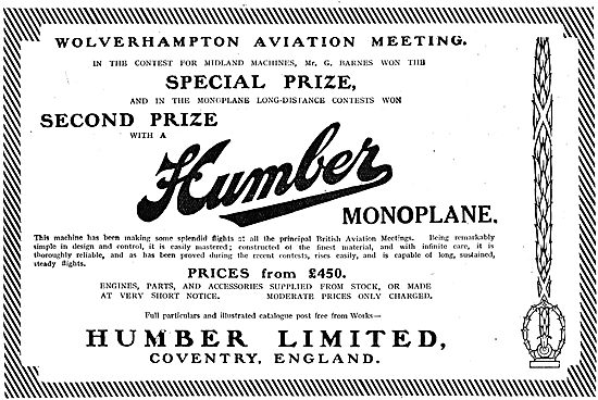 Humber Wins Special Prize At The Wolverhampton Aviation Meeting