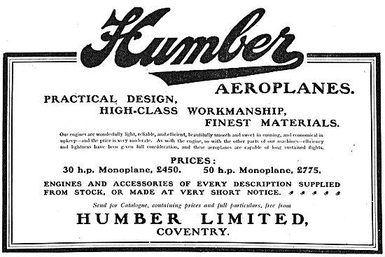 Humber Aeroplanes - High Class Workmanship