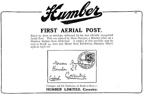 Humber Biplane. First Aerial Post. Pecquet