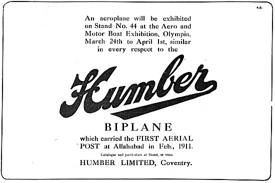 A Humber Biplane Carried The First Aerial Post At Allahbad.