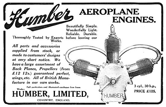 Humber Aero Engines - 3 Cylinder 30 HP Price £125